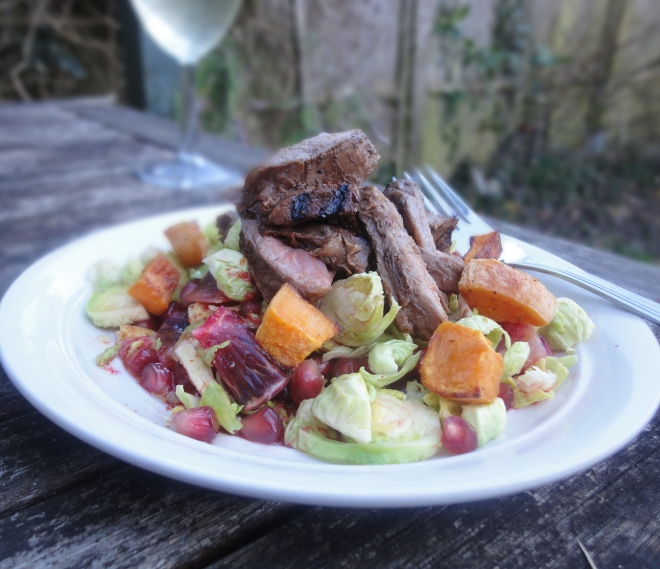 Griddled lamb with Brussels sprout, pomegranate and citrus salad