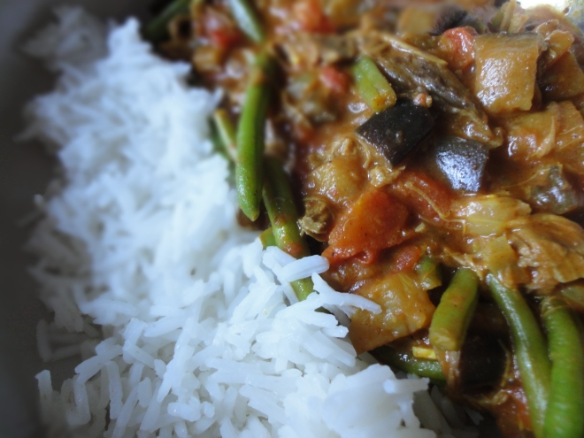 Lamb and aubergine coconut curry