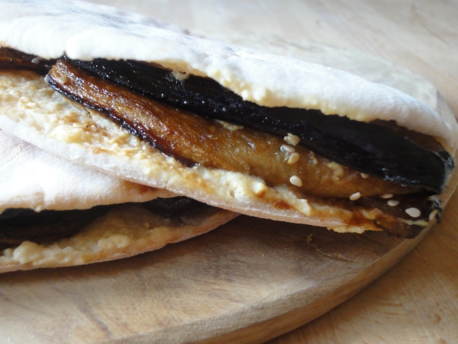 Sesame aubergine and hummus pitas