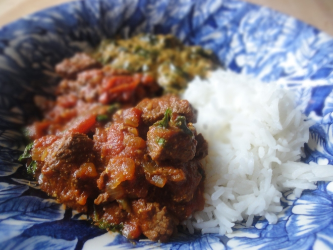 Beef curry (with spinach saag and rice)