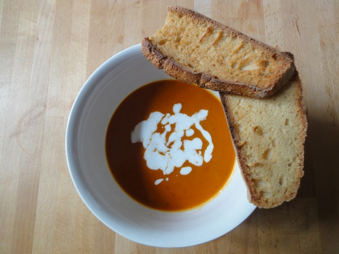 Roasted pepper and sweet potato soup
