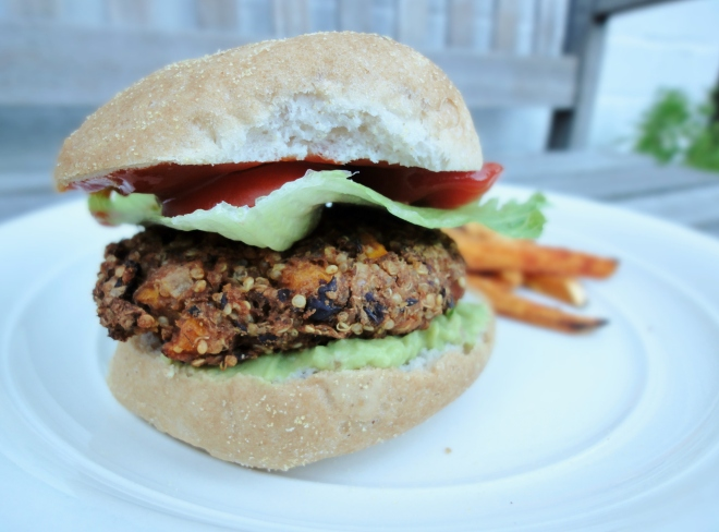 Black bean and quinoa burger