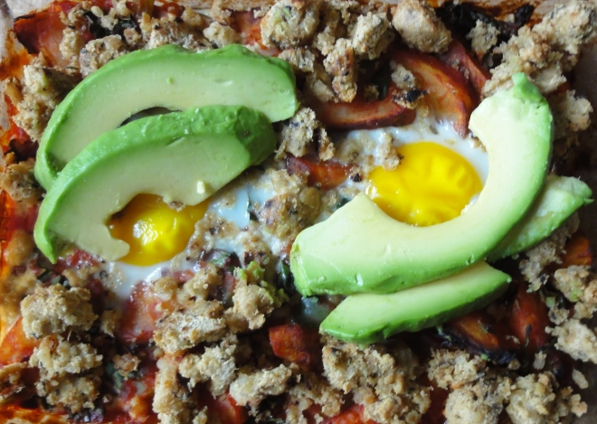 Baked breakfast hash with avocado